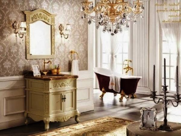 Ванная в стиле ампир красивая бордовая ванная