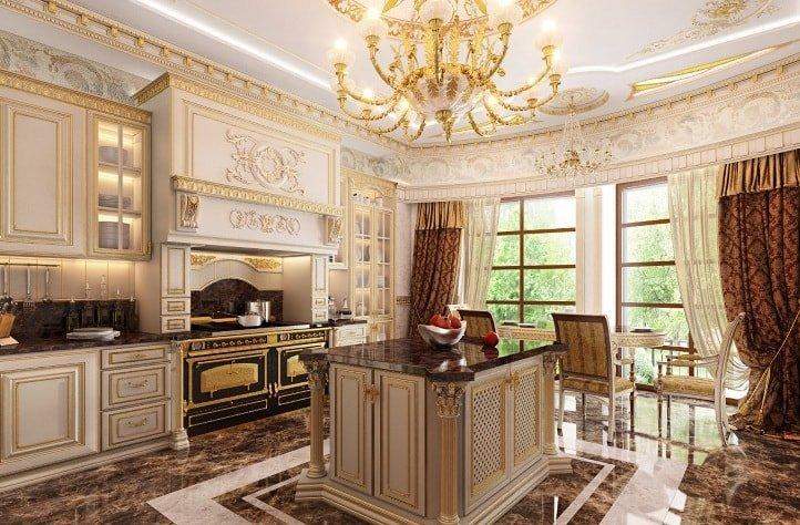 Кухня в стиле ампир и декор