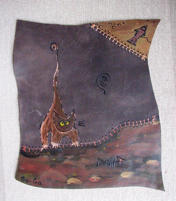 Кожаный Коврик для Мышки с ручной росписью ручная работа.