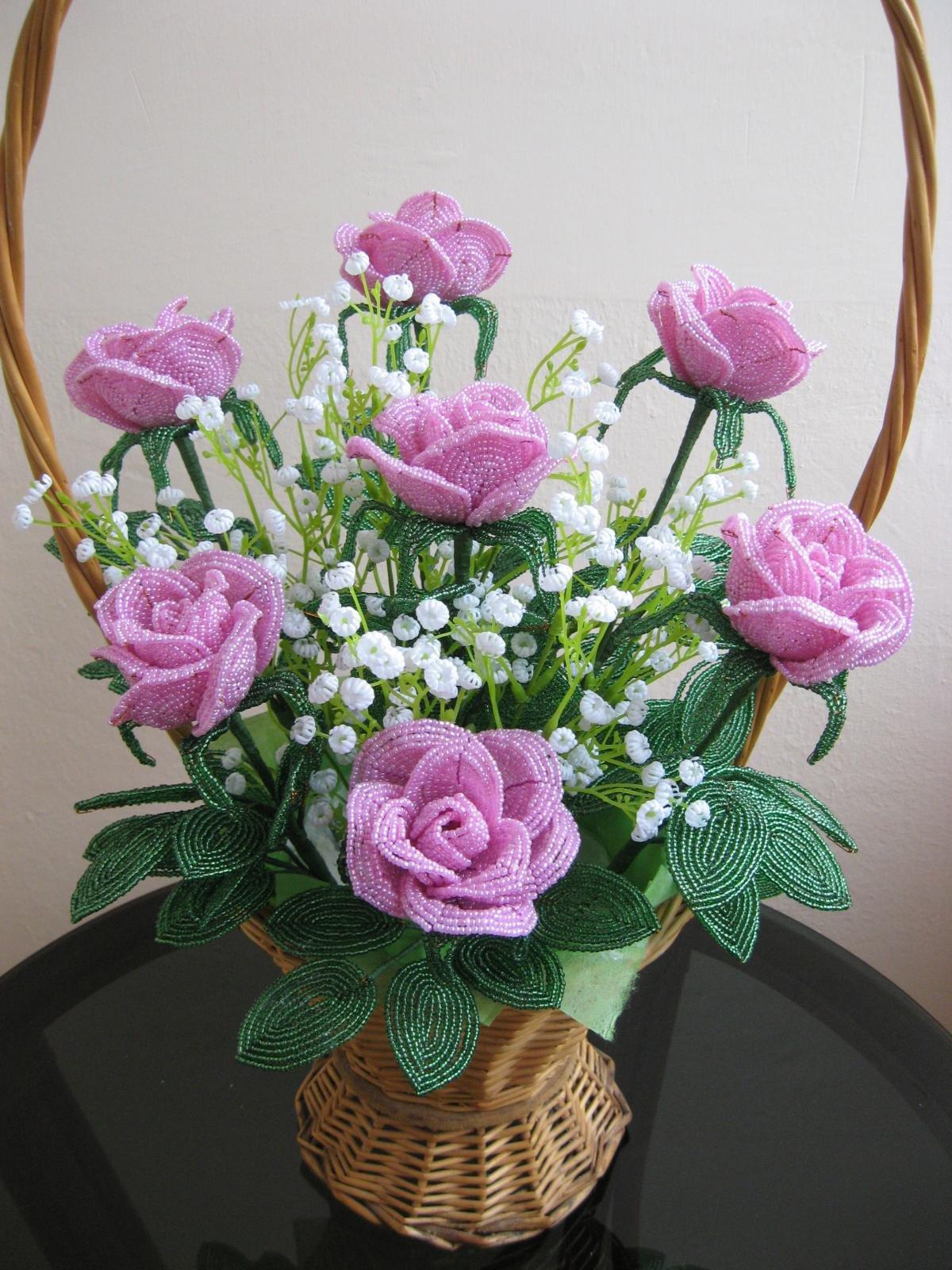 Цветы из бисера своими руками пошагово фото 217