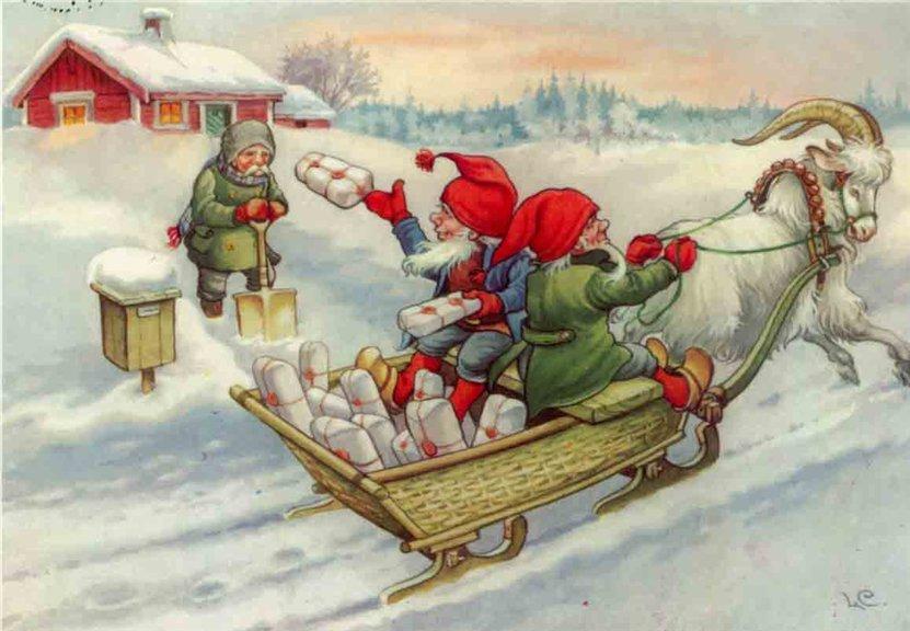 Рождественские открытки санта клаус с эльфами, открыток марта