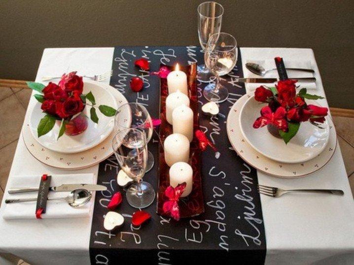 Сервировка стола для романтического ужина дома