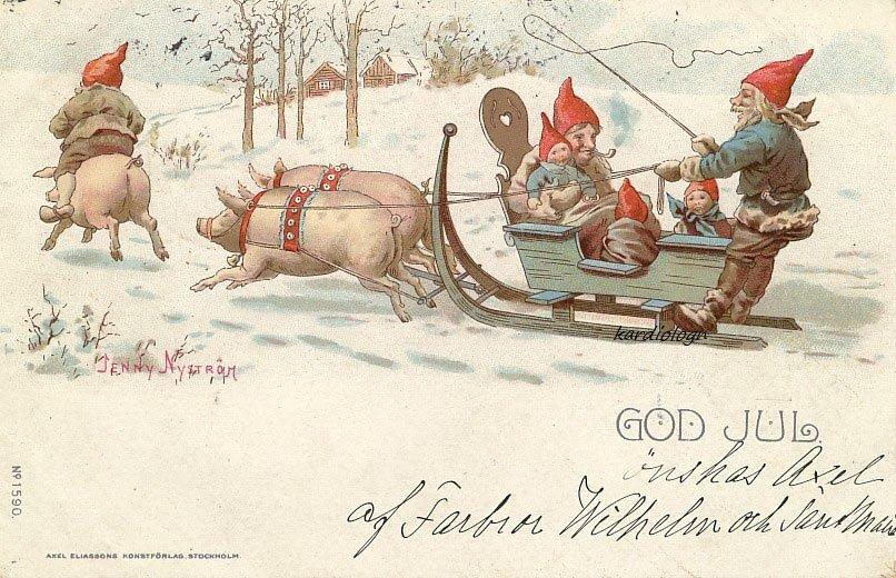 Немецкие новогодние открытки с поросятами