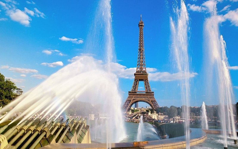 Разрешение 1920x1200, Eiffel tower and fountain, france, ...