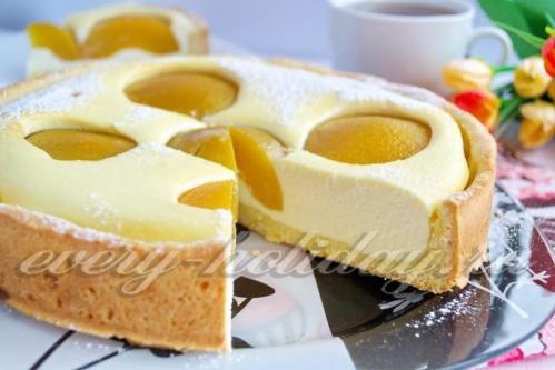 смывать пирог с консервированными персиками и творогом такое золото пробы