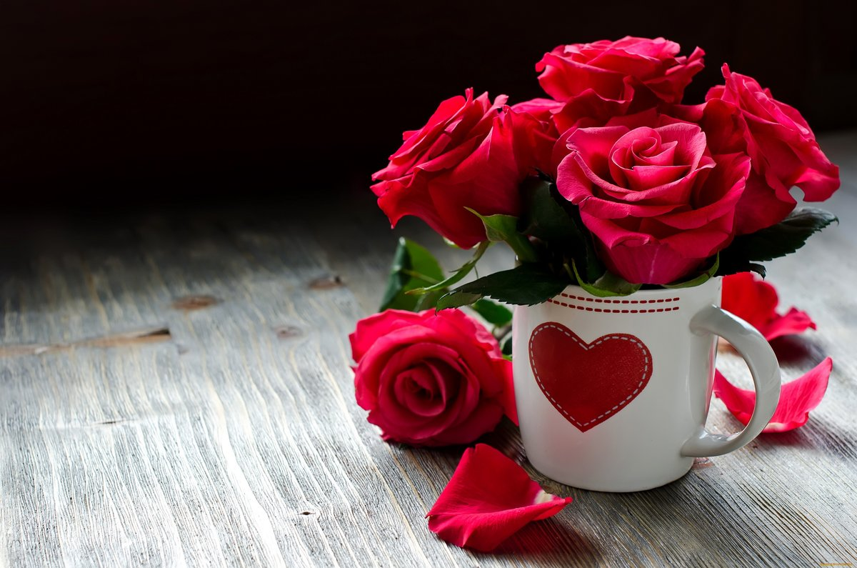 Поздравление матери, открытка для девушки с цветами