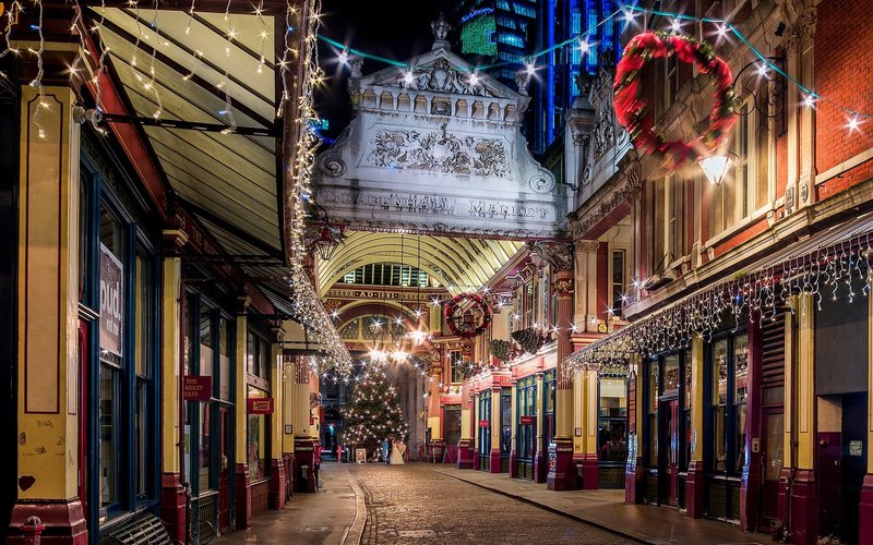 Лондон, Англия, город, ночь, вечер, улица, фонари
