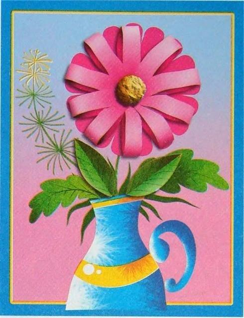 открытка с вазой и цветами из бумаги своими руками дар предмет