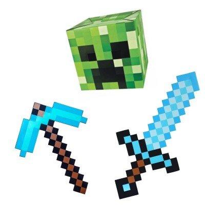 набор состоит из: маска Крипера, алмазный меч Майнкрафт, алмазная кирка Майнкрафт