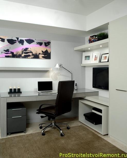 Домашний офис в современном стиле с удобным компьютерным креслом ...