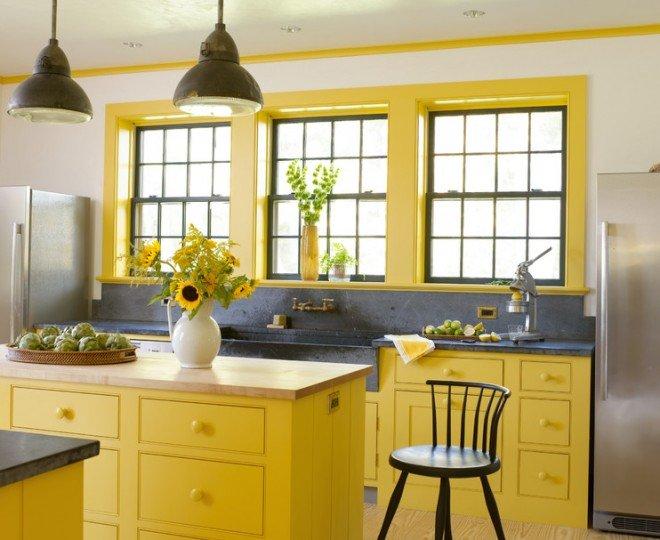 Кухни желтого цвета.