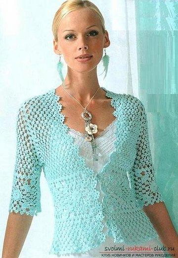 схемы и подробное описание вязания женских летних кофточек своими
