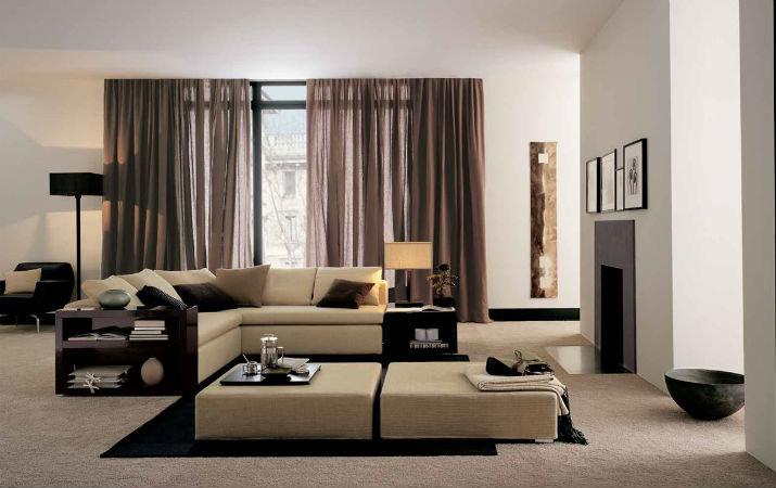 Дизайн контрастной гостиной в современном стиле