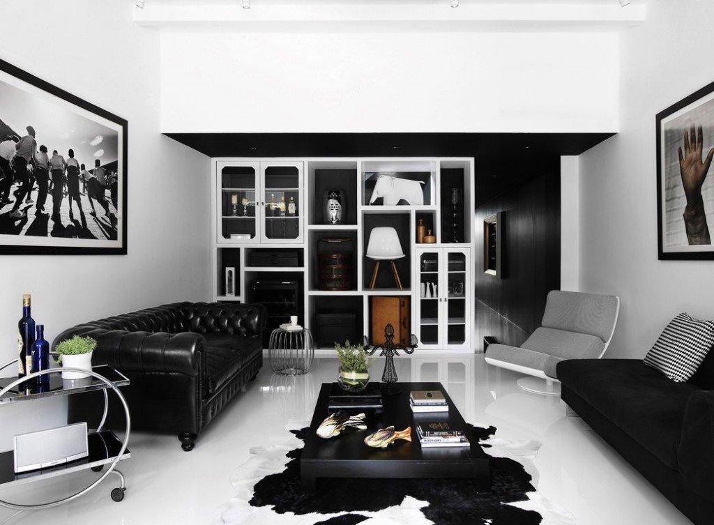 фото дизайн гостиной мебелью с белой черно