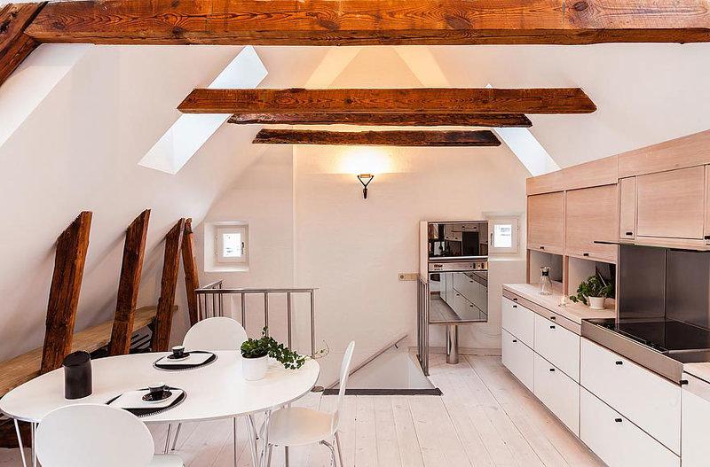 Размещение кухни на чердаке в Стокгольме
