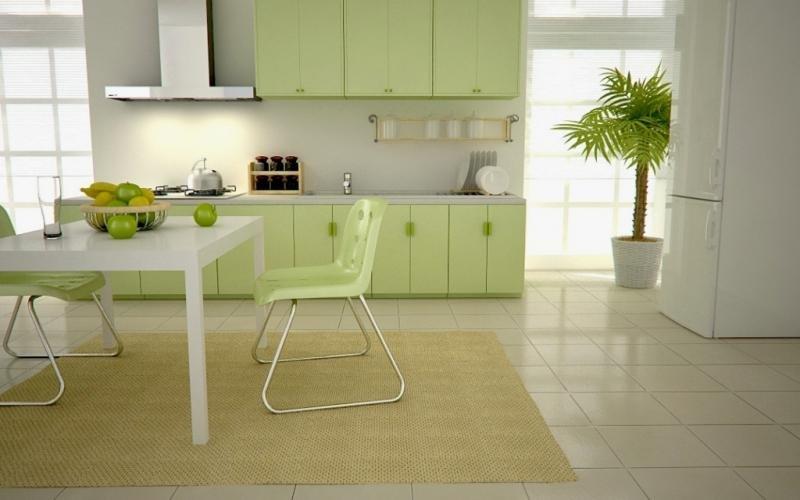 Интерьер кухни зеленого и салатового цвета фото