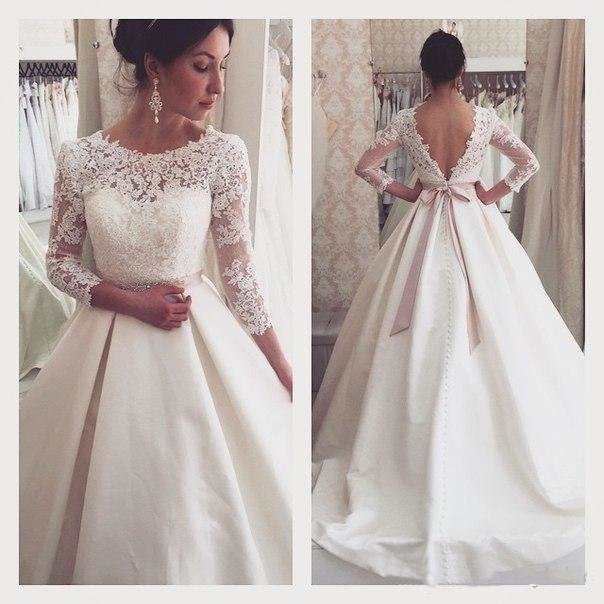 4780c1d9996 ... Купить товар Новый кружева линии свадебные платья 2016 весна длинным  рукавом свадебные платья спинки свадебные платья