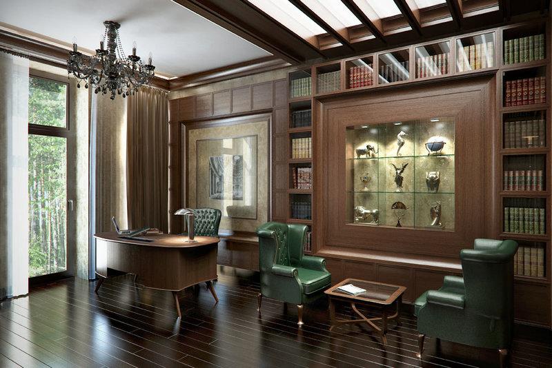 Кабинет. Деревянные панели, классический строгий стиль