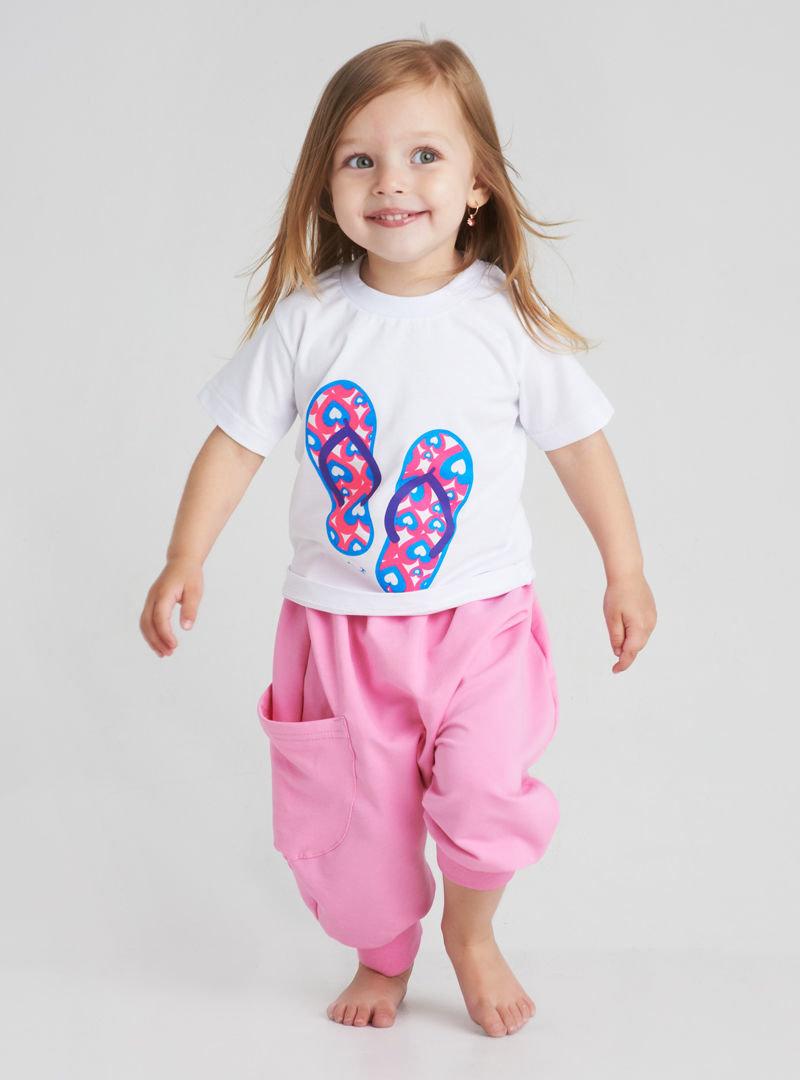Штанишки широкие розовые с большим карманом для лета.