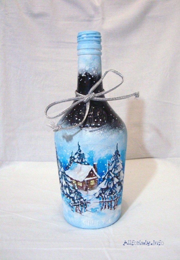 Бутылка акриловыми красками фото