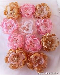 Цветы из ткани шебби шик розовую