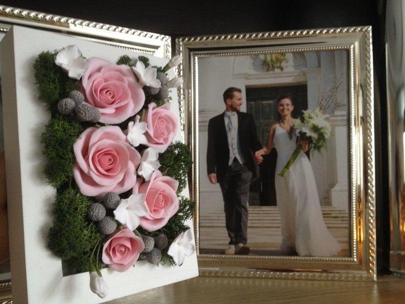 Картина свадебная с цветами из полимерной глины
