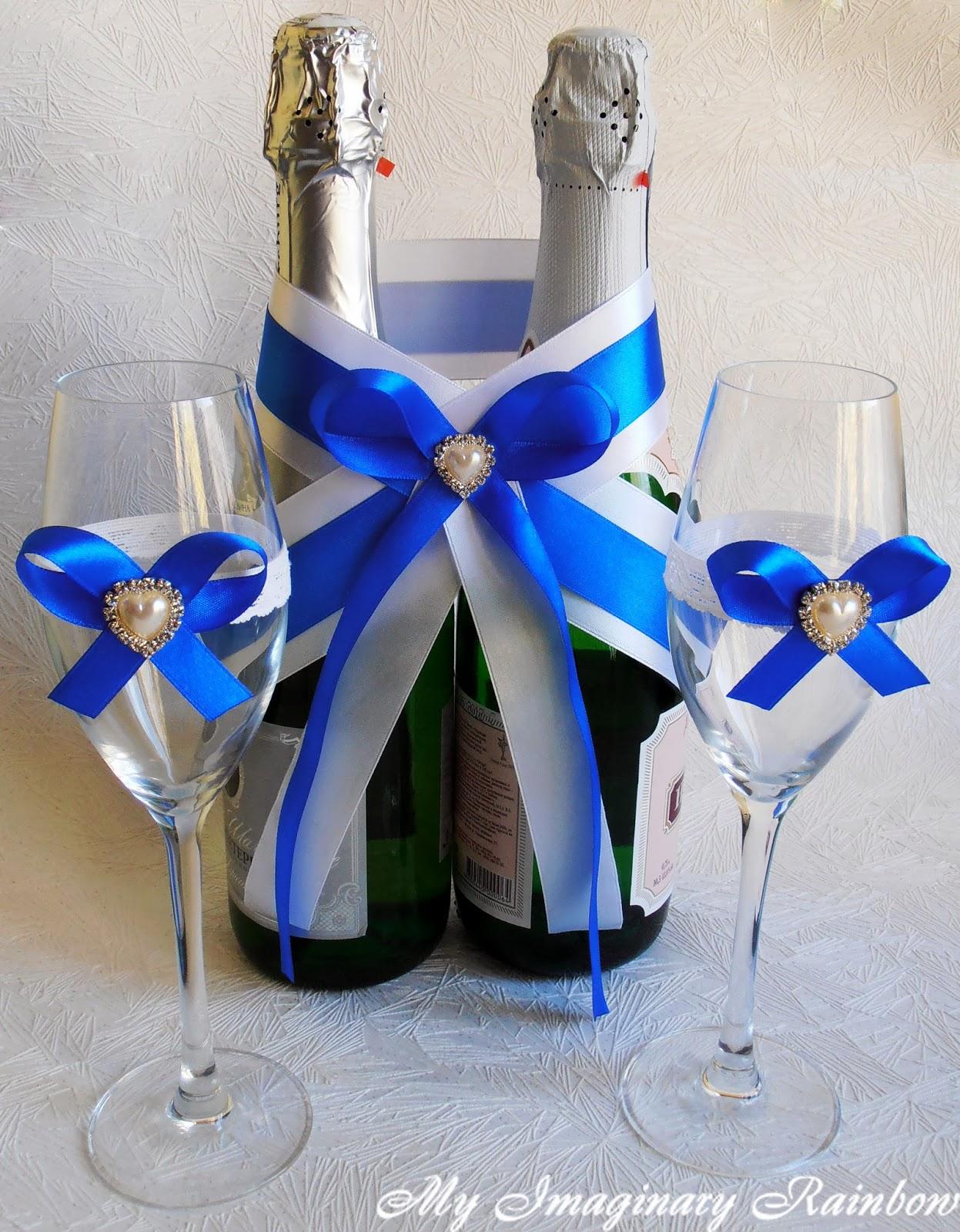 Украшение на шампанское для свадьбы своими руками фото 325