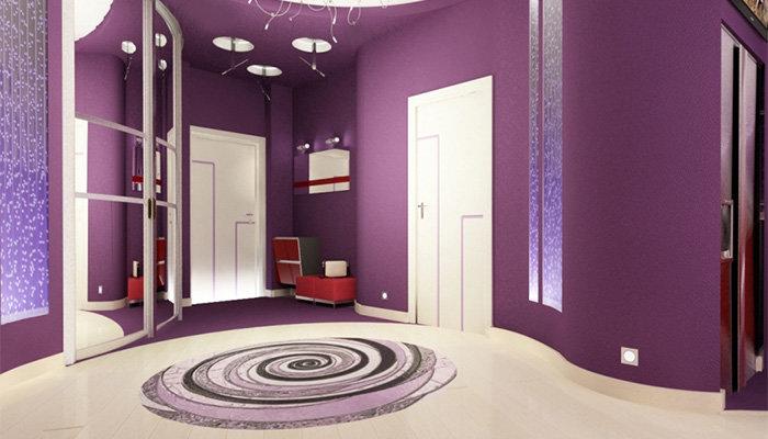 Фиолетовый цвет в интерьере прихожих