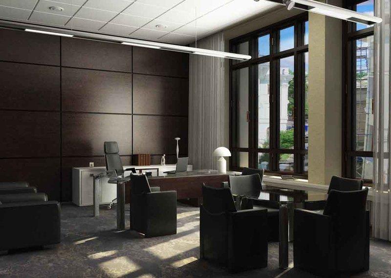 Интерьер кабинета совмещенного с комнатой отдыха