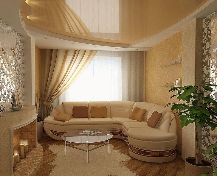 дизайн зала 16 кв.м в квартире фото с угловым диваном