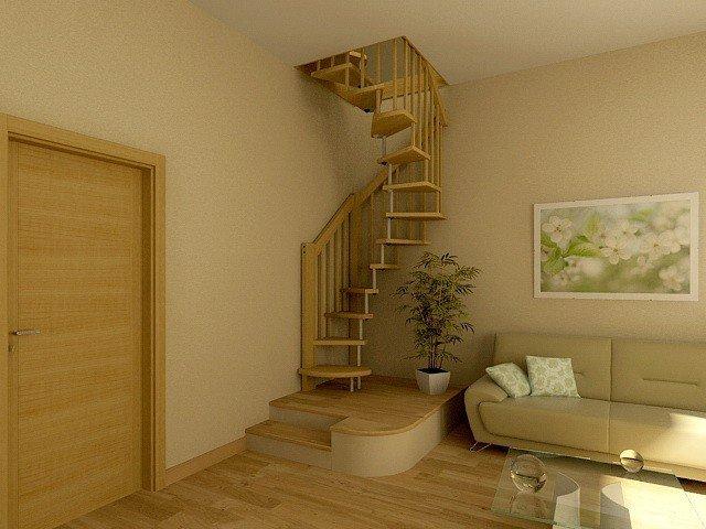 круговая лестница на второй этаж ему