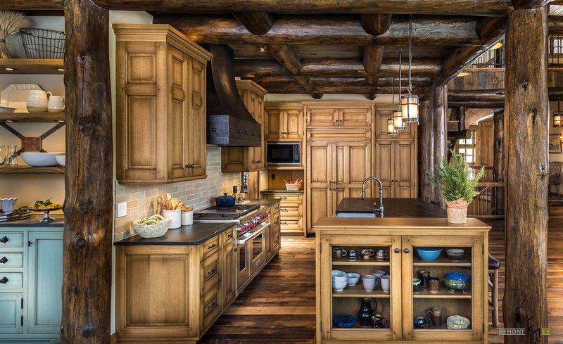Кухня в стиле кантри в загородном доме