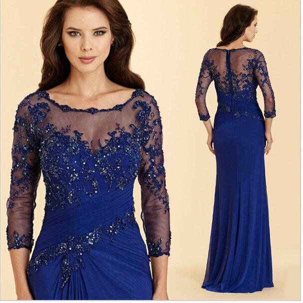 c6d8fb75a9c7134 ... Купить товар Темно синий длинные вечерние платья 2016 элегантный  аппликации кружева 3/4 рукав мать