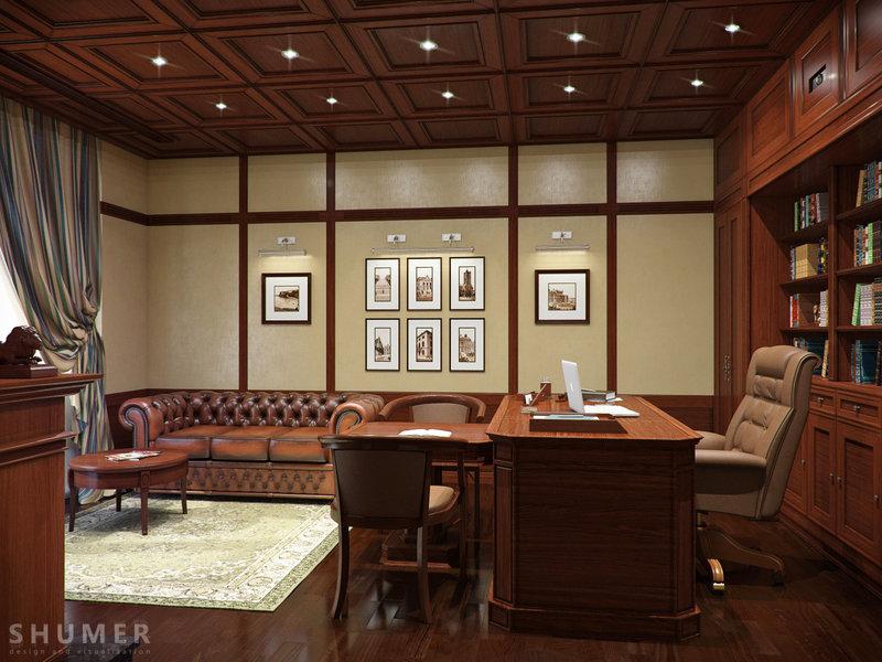 Большой домашний кабинет,с натурального дерева