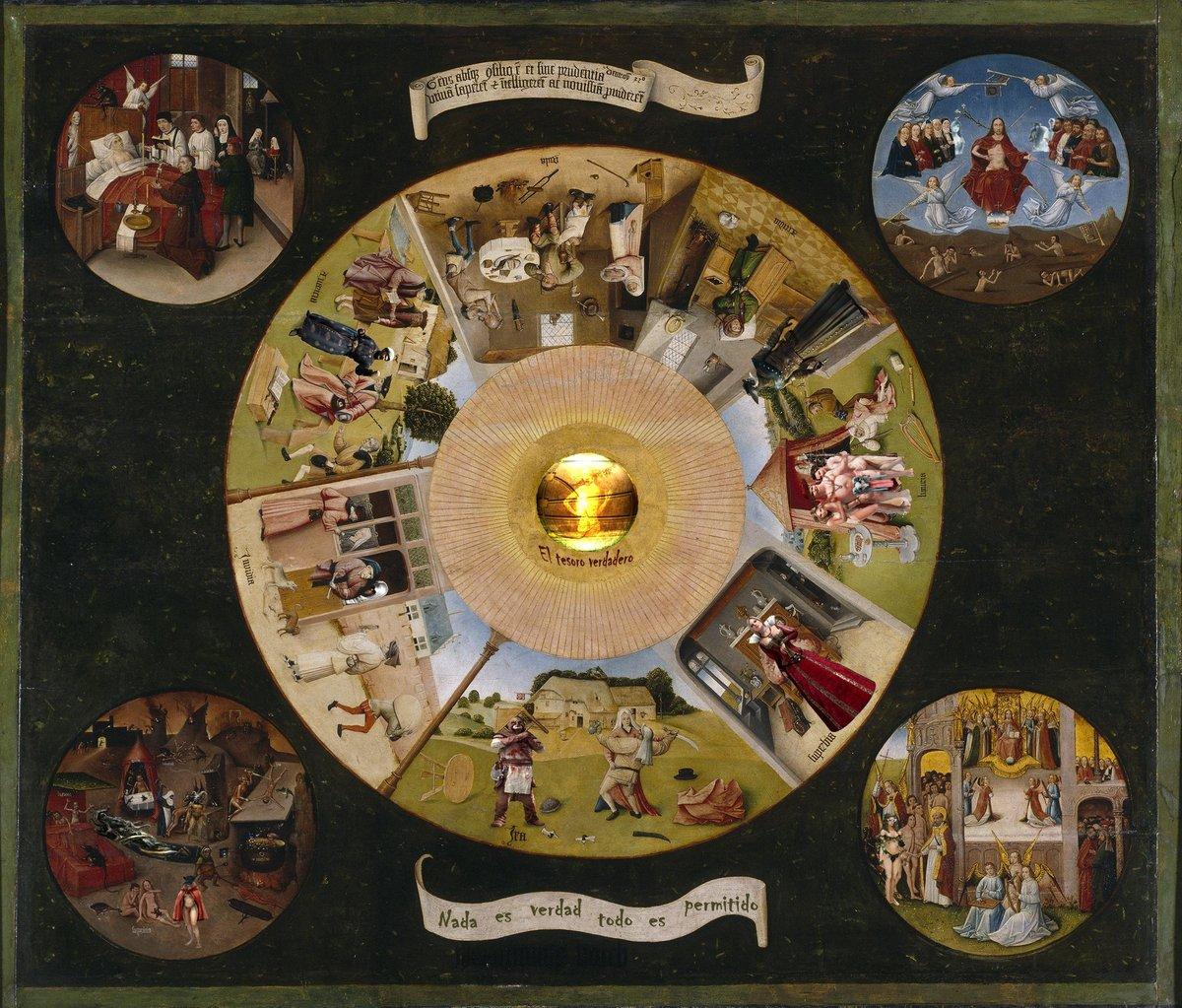 Четыре круглых изображения по углам (тондо), называемые «четыре последние вещи», дополняют картину: они изображают смерть, страшный суд, рай и ад.