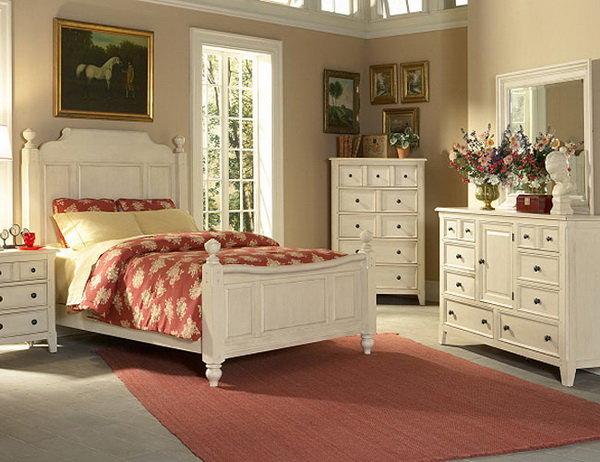 Спальня в стиле кантри в теплых тонах