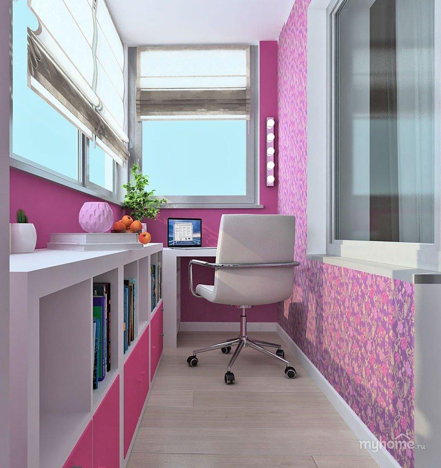 """Яркий розовый балкон с шкафами для книг"""" - карточка пользова."""