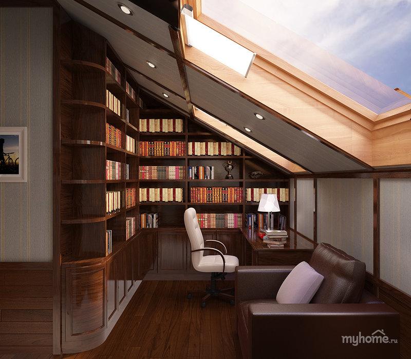 Дизайн домашнего кабинета в современном стиле - Светлый коричневый цвет (на мансардном этаже)