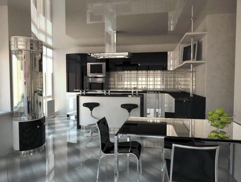 Зеркала и отражения в интерьере кухни
