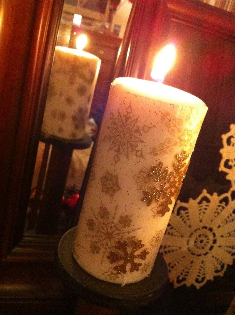 Новогоднгие свечи со снежинками своими руками
