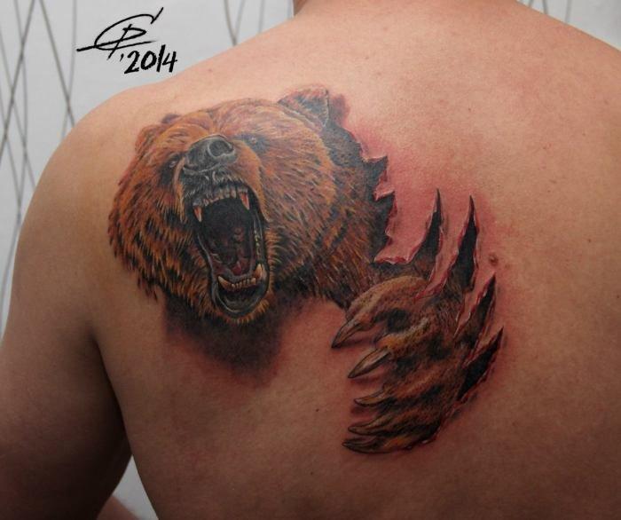 фото тату медведя на спине