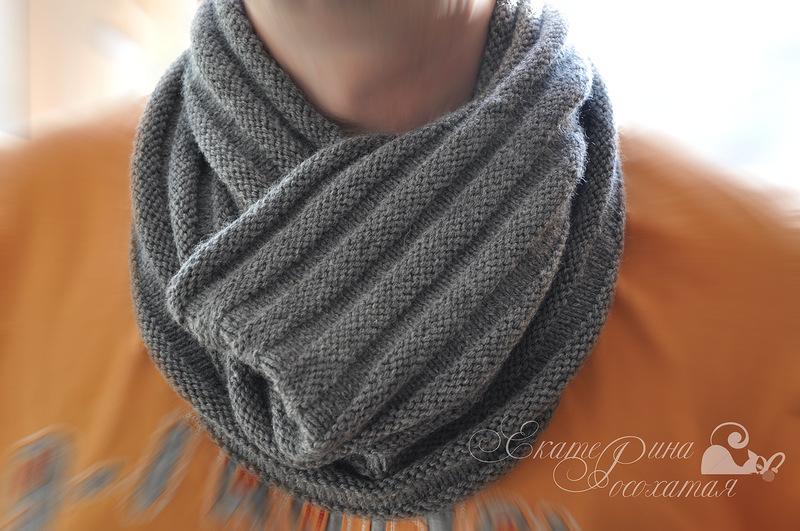 мужской шарф снуд спицами схема вязания