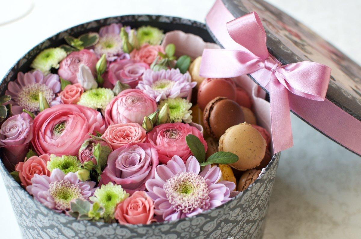 Картинка поздравления с 8 марта цветы и конфеты