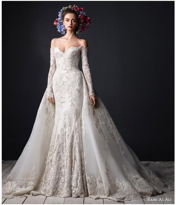 Свадебное платье с рукавами и открытым верхом