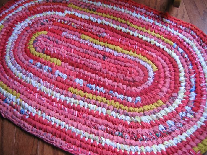 Вязание крючком коврик из тряпок для начинающих
