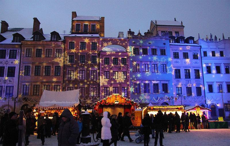 3д-мапинг в Варшаве на Новый год.