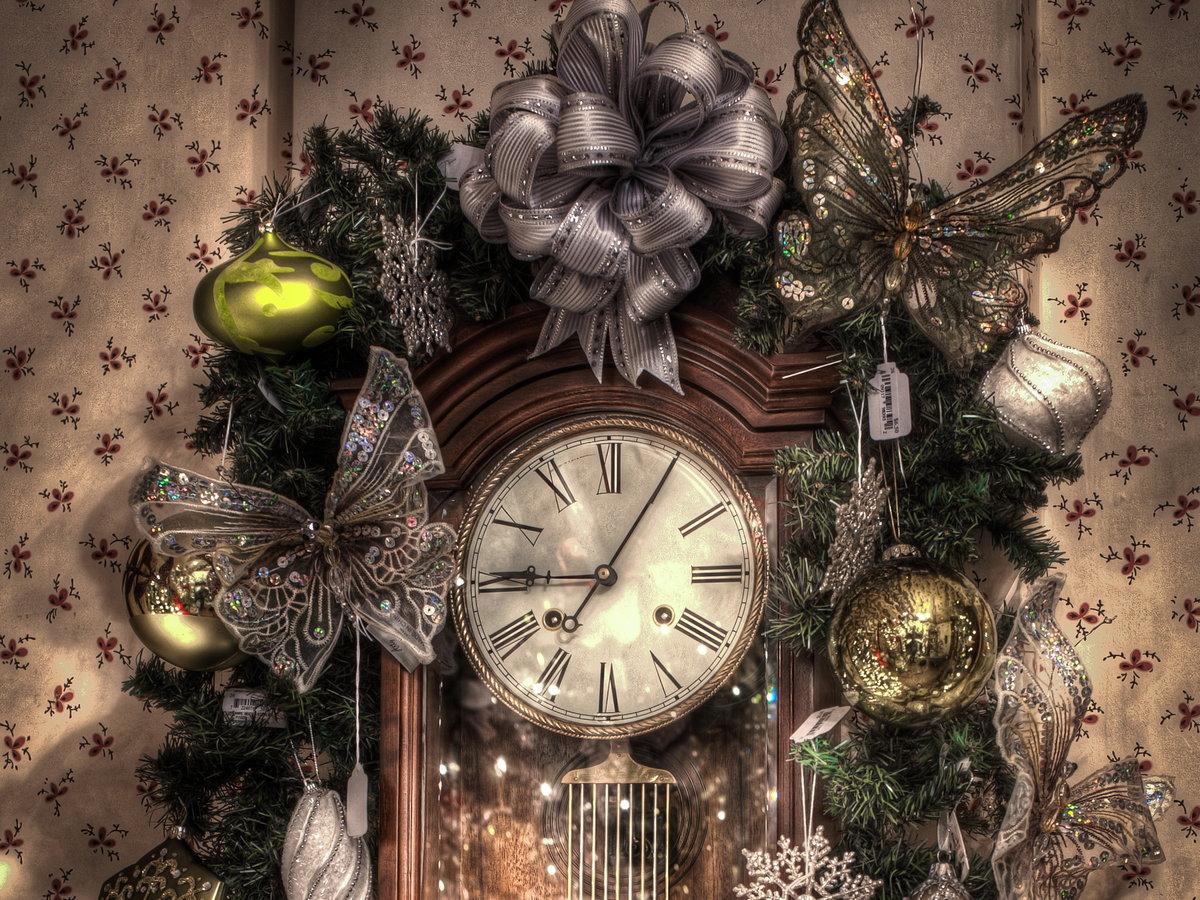 Открытки с часами на новый год