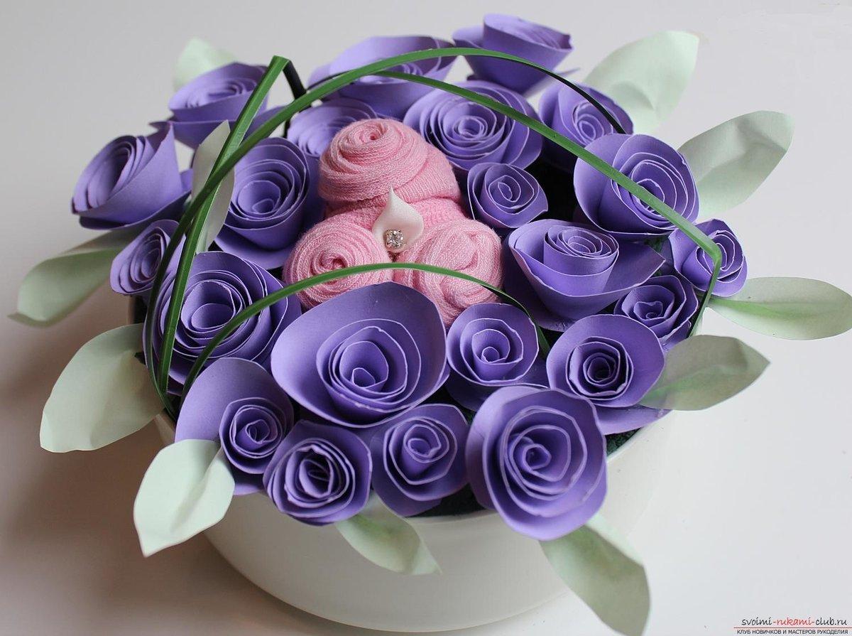 Цветы из цветной бумаги своими руками пошаговая фото 445