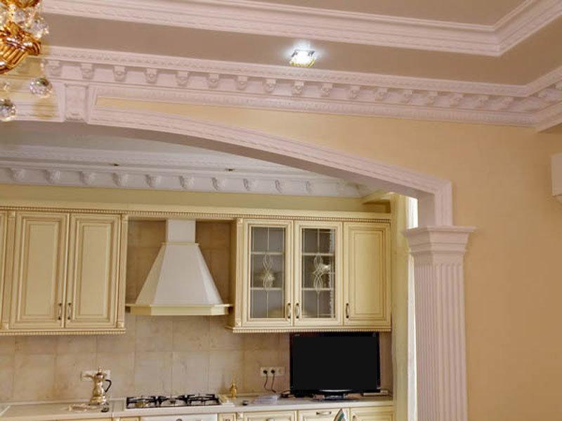 ковролиновому арки с лепниной на кухне появления гипсокартона перегородки