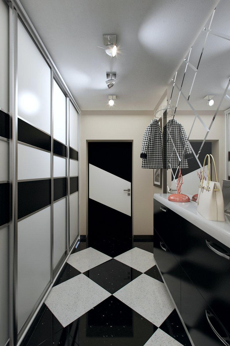 современная прихожая длинная дизайн фото в квартире